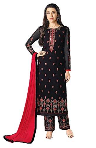 Jesti Designer Women's Black Georgette Embroidery Staight A Line Latest Party Wear...
