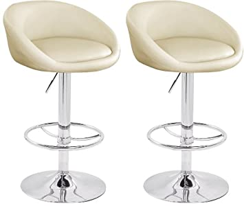 2 x cream breakfast bar stools faux leather barstools kitchen stool new chairs amazoncouk kitchen u0026 home