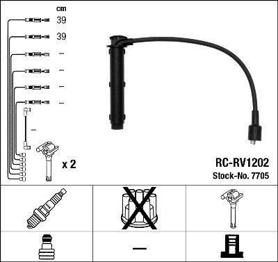 ngk spark plugs 7705K Boite Faisceau HT RC-RV1202