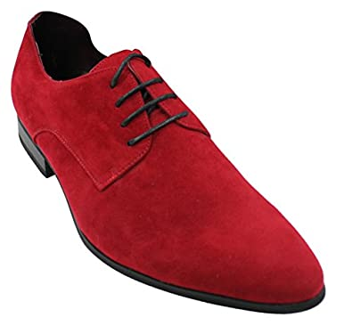 Mens Laced Smart Casual Suede Shoes Red Green Black Grey Italian ...