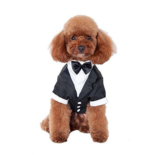 GabeFish Pets Schwarz Hochzeit Jacken Anzug für Hunde mit Schwarz Bow Tie Schleife Puppy Katze Formelle Kleidung Shirt Tuxedo, L (Bust 17.32