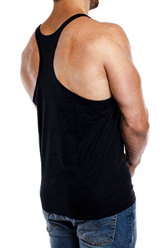 Stringer Tank Top Herren Gym Muskelshirt aus 100% Baumwolle in schwarz & weiss   Fitness & Bodybuilding Muscle Shirt - 4