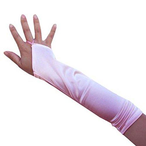 SACASUSA 33 cm Kinder Mädchen Fingerlose Ellenbogenlänge Hochzeit Braut-Handschuhe Satin - Pink - Einheitsgröße (Für Braut-handschuhe Kinder)