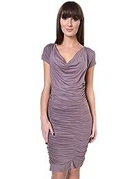 Damen Klassisches Kleid Abendkleid Ärmellos Wasserfallausschnitt Gr S M L XL 36