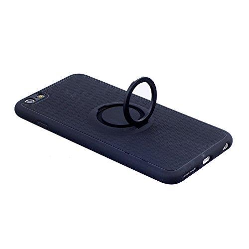 Cover iPhone 6S plus 5.5, Custodia iphone 6 plus, iphone 6S plus Silicone Cover, MoreChioce 360°Protection Moda Painting Colorato Marmo Modello Custodia, Ultra Slim Soft Silicone Gomma Morbido TPU Rag Supporto Nero