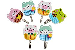 Cartoon Design Plastic Self Adhesive Hooks, Set of 6, Load Capacity upto 1Kg (Random Patterns)