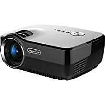 HD Mini proiettore portatile, Meyoung Pico Proiettore GP70 LED a colori 150 pollici Home Cinema risoluzione 800 * 600 1080p video proiettori per film, TV, Party e giochi, Nero con la spina EU