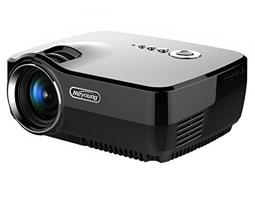 HD Mini proiettore portatile, Meyoung Pico Proiettore GP70 LED a colori 150 pollici Home Cinema risoluzione 800 * 600 1080p video proiettori per film, TV, Party e giochi, Nero con la spina EU