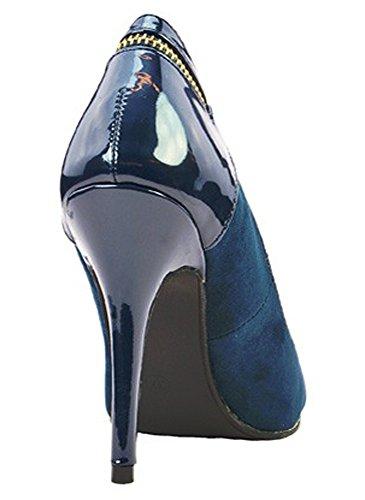 Escarpins à Talon Bi-matière Bleu Bleu