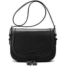 ECOSUSI Sac Porté Epaule Rétro pour Femme Sacoche de Selle Saddle Bag Noir