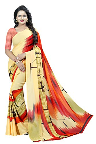 KSH Trendz Soft Georgette Crepe Blend Saree With Blouse Piece For Women & Girls (KSH MANOHARI 1_Multi-coloured_Free Size)
