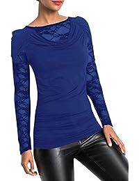 ec27365315749c Damen Shirt Elegante Bluse Damen Sexy Slim Fit Top Frauen Langarmshirt  Schulterfreie Oberteile Patchwork Langarmshirt…