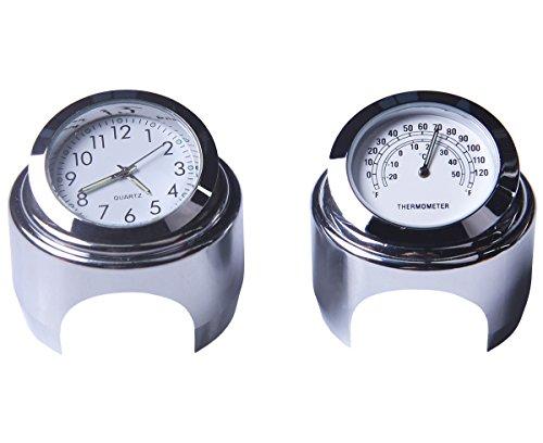 Motorrad Lenker Uhr & Thermometer 7/8 Zoll Universal Wasserdicht Motorrad Lenker Uhr Yamaha Kawasaki Honda Suzuki Harley Davidson (Weiß)