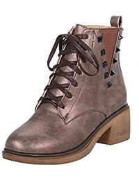 9f05fbad6f11 AIYOUMEI Damen Schnürstiefeletten Plateau Ankle Boots Blockabsatz  Stiefeletten mit Schnürung und Nieten