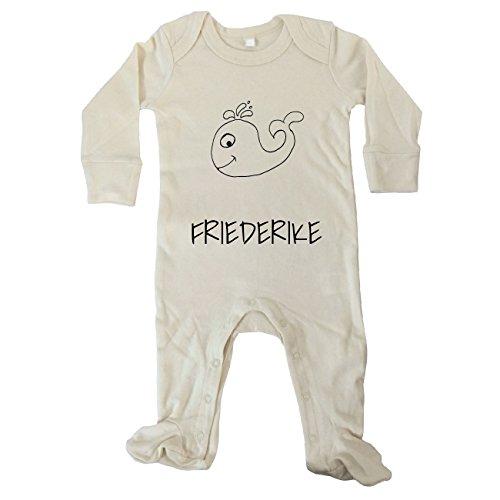 JOllipets Baby Strampler Langarm - FRIEDERIKE - 100% BIO ORGANISCH - Design: Wal – Grösse: 6-12