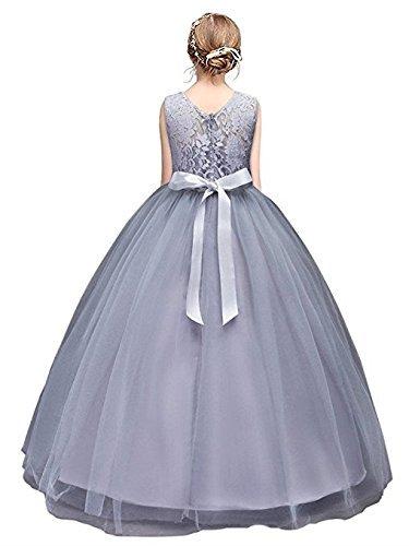 Kleid Tüll Blumenmädchen Kleid mit Schleife Grau Gr.170 (Mädchen Prinzessin Kleid)