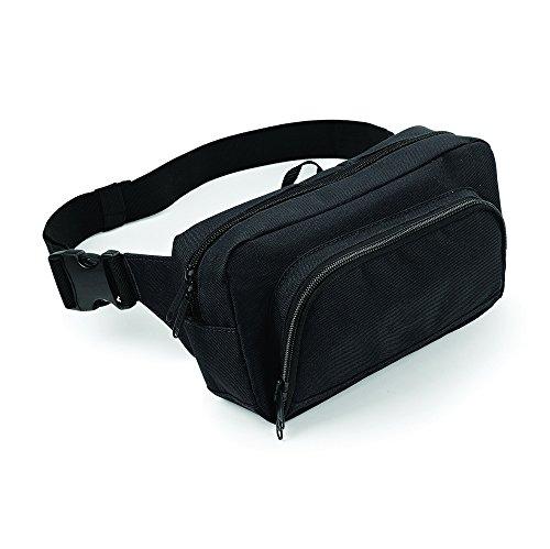 Men's Bag, verstellbarer Gürtel aus Webstoff, mit Reißverschluss, Organizer Waistpack Gürteltasche Schwarz - Schwarz
