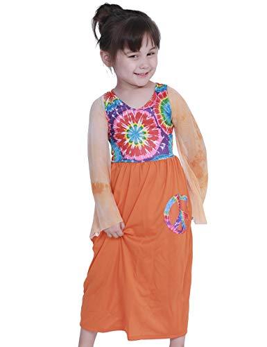 1960 Hippie Kostüm - A&J DESIGN Kinder Mädchen 1960er Jahre Hippie-Kostüm Frieden Liebe Party Kleid (Orange, Groß)