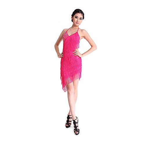 SymbolLife Frauen Dame Latin Dance Kleid Fransenkleid mit Pailletten Damen sexy Tanzkleidung Partykleid Darbietungen Tanzkostüme für Karneval Fasching Halloween Rosa