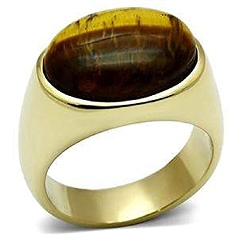 YourJewelleryBox TK718PB TIGER EYE LARGE STONED MENS RING ALL SIZES SIGNET PINKY STEEL 18CT SIZE R USA 9