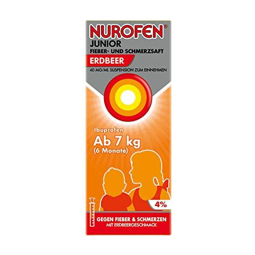 Nurofen Junior Fieber- und Schmerzsaft - Ibuprofen-Saft mit Erdbeer Geschmack bei Fieber und Schmerzen - Für Kinder - 40 mg/ml 150 ml