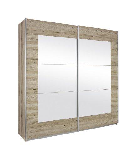Rauch Schwebetürenschrank mit Spiegel 2-türig Eiche San Remo hell, BxHxT 181x210x62 cm