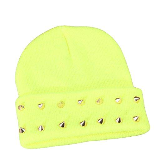 JTC Unisexe Chapeau avec Rivet D'hiver ou Automne En Tricotage avec élastique Jaune fluo