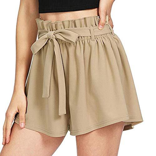 KUDICO Damen Shorts Mode Spitze Yoga Sporthosen Sommerhosen High Waist Kordelzug Kurze Hose mit Taillenband Elegant Hotpants Strandshorts(Beige a, S) -