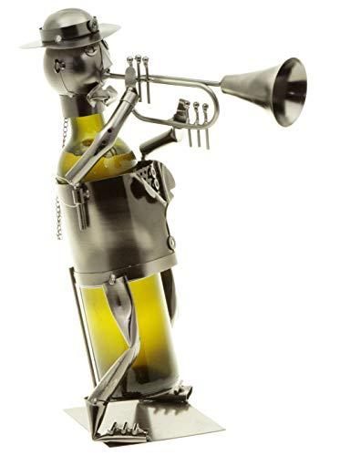 hLine Flaschenhalter Trompeter Wein Geschenk Flaschenmännchen Trompetenspieler