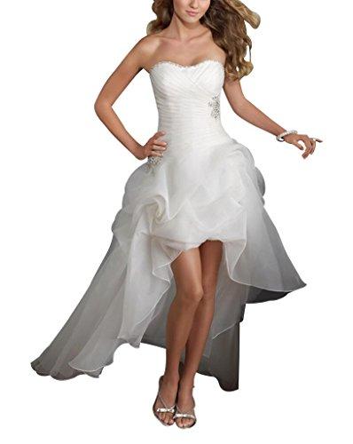 GEORGE BRIDE Traegerloses High-Low Satin Brautkleider Hochzeitskleider Weiß
