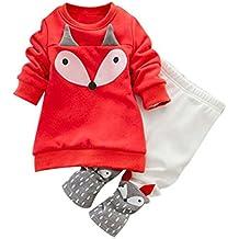 Lylita 2pcs Bambino Bambina Fox Maglia manica lunga camicia top + pantaloni abiti vestito