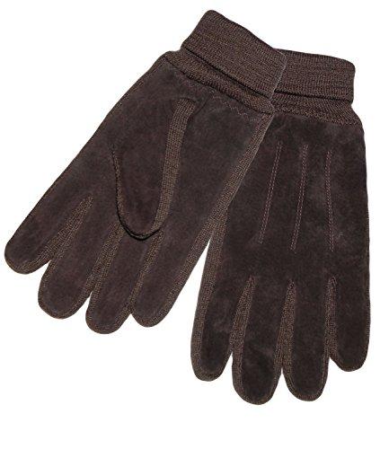 EveryHead Herrenhandschuhe Handschuhe Lederhandschuhe Fingerhandschuhe Winterhandschuhe Velourleder mit Fleecefutter für Männer (PT-6399-W16-HE1-5-M/L) in Braun, Größe M/L inkl ()