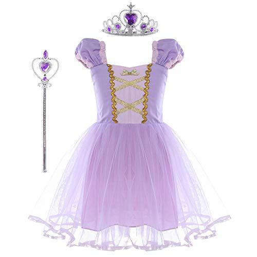 Für Märchen Kostüm Verkauf - YiZYiF Lange Haare Prinzessin Kostüm Mädchen Märchen Kostüm Kleid Halloween Outfit Karneval Fasching Partykleid Festzug mit Krone und Zauberstab Lavendel 80-86