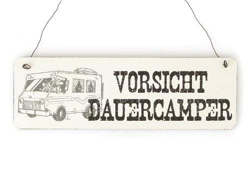 Shabby Vintage Schild Türschild VORSICHT DAUERCAMPER Holzschild Geschenk Camping Wohnwagen Wohnmobil