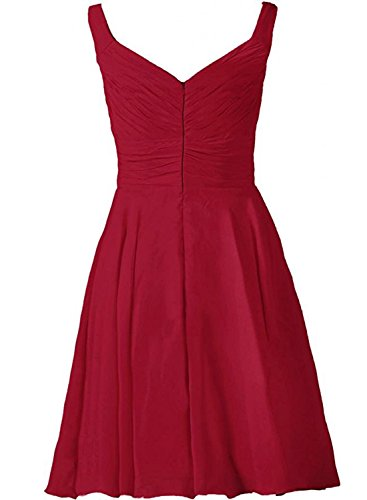 Azbro Women's Sleeveless Short Bridesmaid Chiffon Dress white