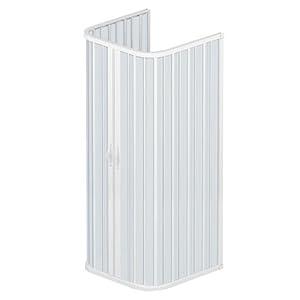 Rollplast– Puerta de ducha a fuelle BSAT2CONCC2808080, 80x 80 x 80x (altura) 185cm, de PVC, a 3 lados, 2 puertas, con apertura central, blanca