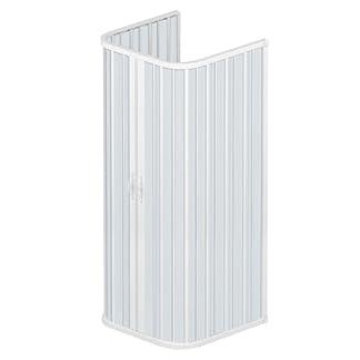 Rollplast BSAT2CONCC28090090 Mampara de ducha con fuelle, tamaño 90 x 90 x 90 x 185 H cm, PVC, con tres lados, dos puertas con abertura central., color blanco