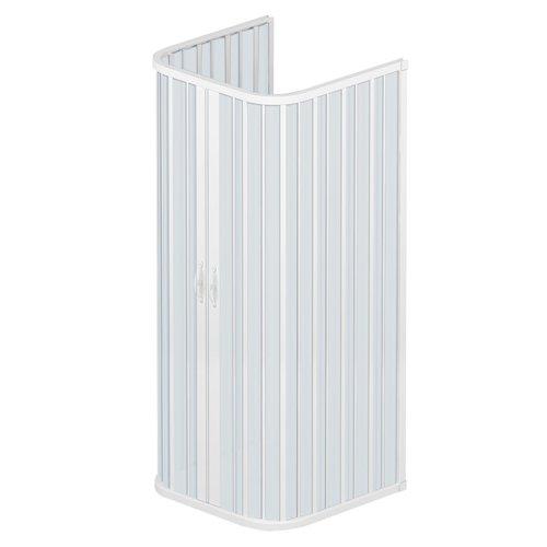 Rollplast BSAT2CONCC2808080 Box Doccia Soffietto Dim. 80 x 80 x 80 x H 185 PVC Tre Lati Due Ante con Apertura Centrale Bianco