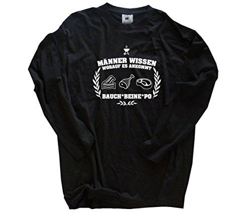 Shirtzshop Grillen BBQ - Männer wissen worauf es ankommt-Bauch Beine Po Longsleeve-T-Shirt Schwarz XXL -