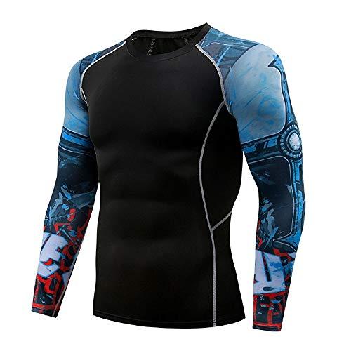 Herren Pullover Schwarz Kompressions-Shirt Langarm Funktionsshirt Jungen Yoga Trainingsshirt Fitness Sportshirt Jungen…
