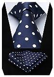 HISDERN Dot Floral Wedding Tie Panuelo para hombres Corbata y bolsillo cuadrado Azul marino/blanco