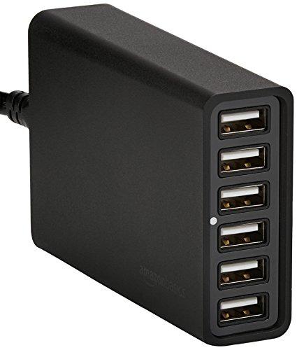AmazonBasics - Cargador USB de 6 puertos (60W), Negro