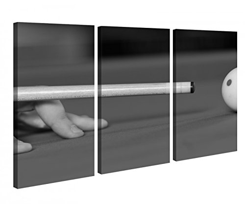 Leinwandbild 3 Tlg. Sport Billard Ball Hand Queue schwarz weiß Leinwand Bild Bilder Holz fertig gerahmt 9R819, 3 tlg BxH:120x80cm (3Stk 40x 80cm) (Sport-bilder Gerahmt)