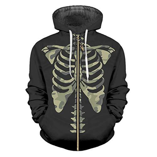 (HensGalis 3D gedruckte lässige Zip Hoodies lustige Tarnung Skelett schwarz Large Size Coat Camouflage Skeleton M)