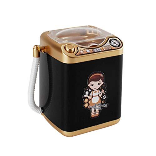 Toyvian Mini Waschmaschine Spielzeug Make-Up Schwamm Pinsel Waschmaschine Reiniger Elektrogerät mit Ablaufkorb für Kinder Puppenhaus Zubehör (Gold)