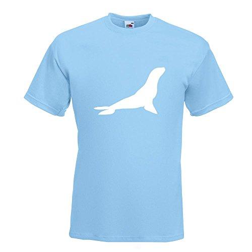 Kiwistar Robbe - Seehund - Antarktis T-Shirt in 15 Verschiedenen Farben - Herren Funshirt Bedruckt Design Sprüche Spruch Motive Oberteil Baumwolle Print Größe S M L XL XXL Himmelblau