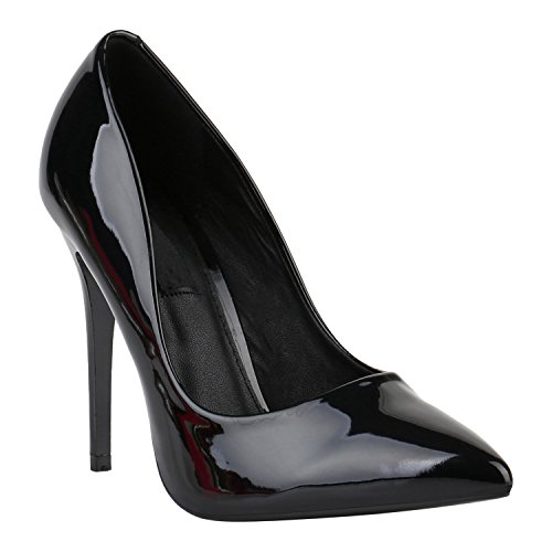 Schwarz Leder Damen Nieten-heels (Elegante Damen High Heels Spitze Pumps Lack Metallic Stiletto Samt Glitzer Nieten Abend Business Schuhe 142131 Schwarz Lack 38 Flandell)