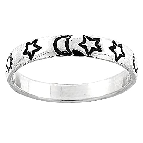 Sterling Silver Thin Stars, Moon & Sun Wedding Band Ring, Size N