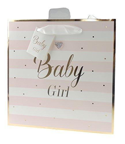 Pastell Baby Girl Boy Gold geschnittenen Streifen Baby Dusche Taufe Geschenk Wrap Tasche, rose, M