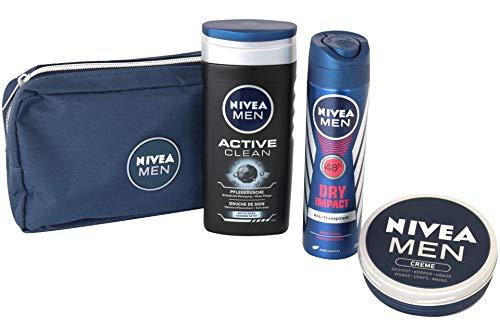 Nivea Men Geschenkset 4 tlg. - 1 x Kulturbeutel - 1 x Men Creme 150 ml - 1 x Duschgel 250 ml - 1 x Deospray 150 ml Geschenkset für Männer